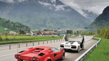 Lamborghini Aventador and Countach parked