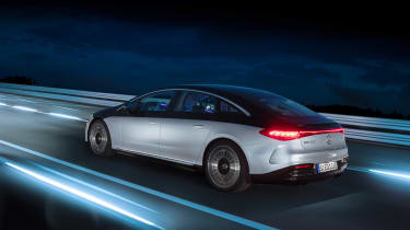 Mercedes-Benz EQS – rear quarter tracking night