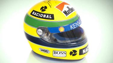 Ayrton Senna's signed crash helmet