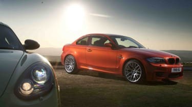 BMW 1-series M Coupe v Porsche Cayman R video review