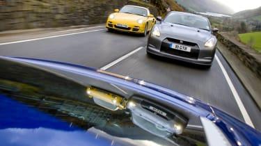 Audi R8 V10 v Porsche 911 Turbo v Nissan GT-R