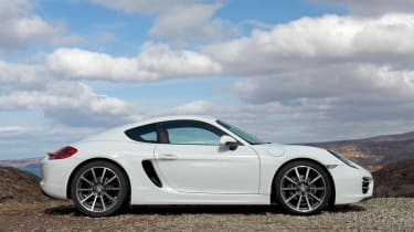 2013 Porsche Cayman white side profile