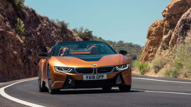 BMW i8 Roadster cornering