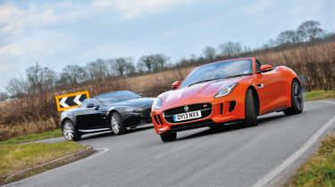 Jaguar F-type V8 S vs Aston Martin V8 Vantage Roadster cornering