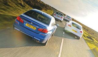 Porsche Panamera vs BMW M5, Jaguar XFR and Mercedes E63 AMG driving