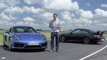 Porsche 911 GT3 v Cayman GTS track video