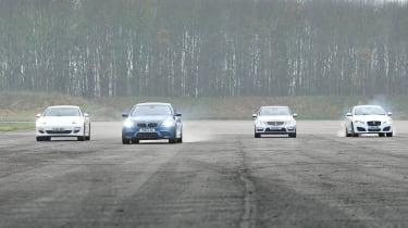 Porsche Panamera, BMW M5, Jaguar XFR and Mercedes E63 AMG: Drag race video