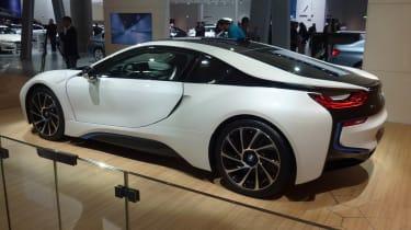 BMW i8 hybrid supercar white side profile
