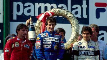 1983 Austrian Grand Prix podium. From left: Rene Arnoux, Alain Prost, Nelson Piquet