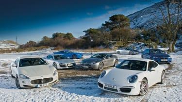 Porsche 911 vs R8, GT-R, XKR-S, M5, GranTurismo and Vantage