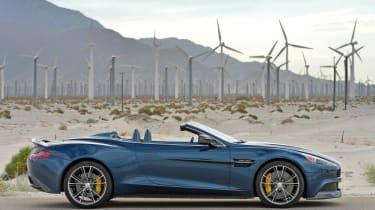 Aston Martin Vanquish Volante blue side profile