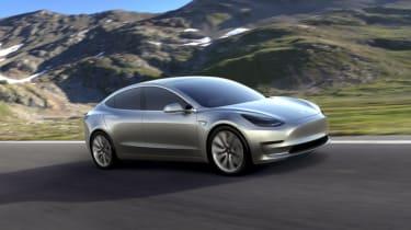 Tesla Model 3 press silver