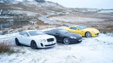 Bentley Continental Supersports v Ferrari 599 HGTE v Aston Martin DBS