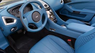 Aston Martin Vanquish Volante blue interior sqaure steering wheel