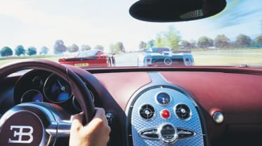 Cockpit view of the Bugatti Veyron on a French autoroute
