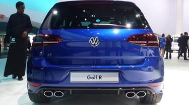VW Golf R mk7 blue rear exhaust tailpipes