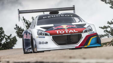 Peugeot 208 T16 Pikes Peak video Red Bull livery