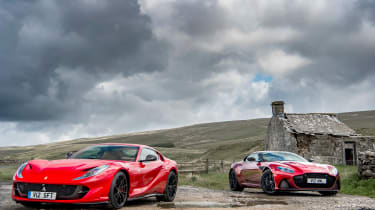 Aston Martin DBS Superleggera vs Ferrari 812 Superfast front