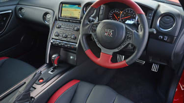 2013 Nissan GT-R red and black interior