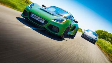 Porsche Cayman GTS vs Lotus Exige Sport 410
