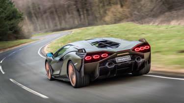 Best hybrid cars 2021 - Lambo Sian rear tracking