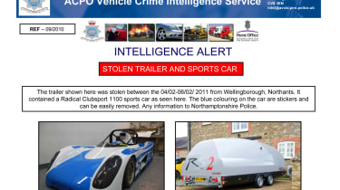 evo's Radical Clubsport and Brian James RS2 trailer stolen