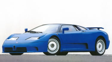 209mph Bugatti EB110 GT: Often forgotten about, the quad-turbo EB110 GT de-throned F40 in 1991, but its reign was short-lived
