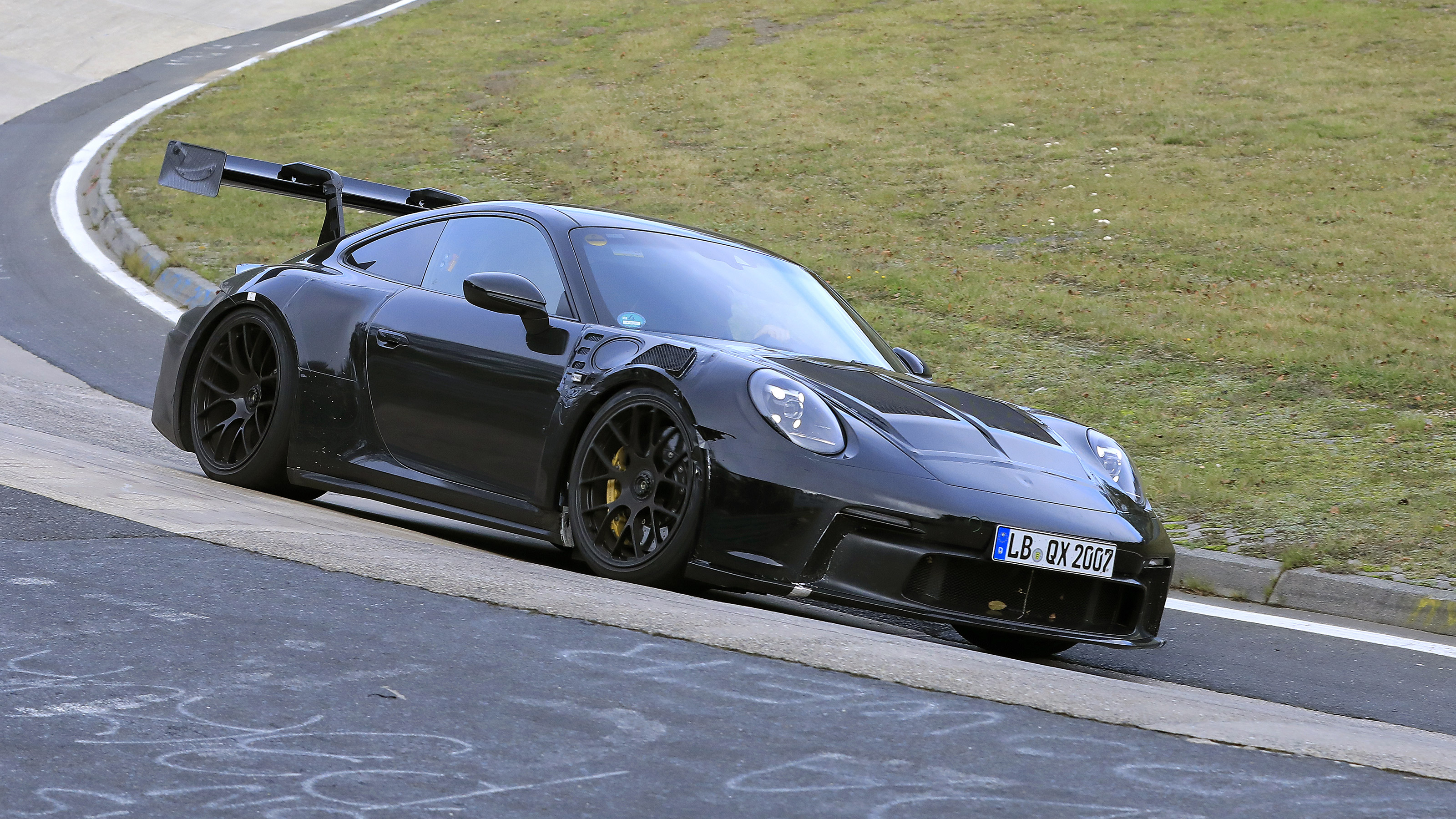 New 992 Porsche 911 Gt3 Rs Spied Testing At The Nurburgring Evo