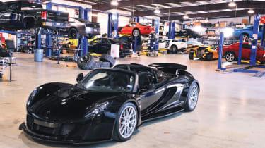 Hennessey Venom GT in the workshop