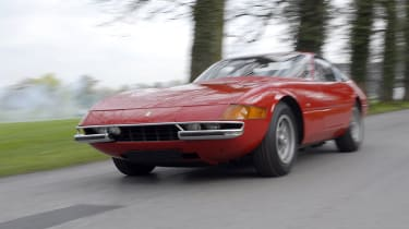 174mph Ferrari Daytona: Introduced in 1968 to kick back at Ferruccio Lamborghini's Miura - sticking with the more traditional