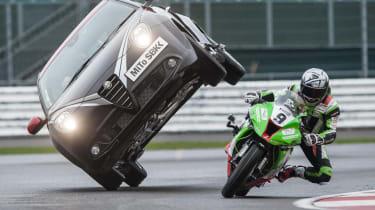 Alfa Romeo Mito Quadrifoglio Verde SBK motorbike stunt