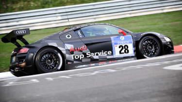 evo races Audi R8 LMS at the Nurburgring