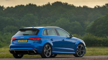 Audi RS3 hatch (facelift) UK press blue - rear 3/4 static