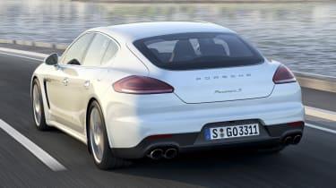 New Porsche Panamera S E-Hybrid white rear view