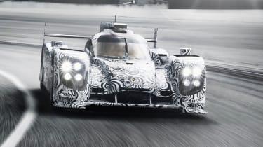 Porsche LMP1 Le Mans car front view lights