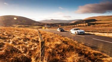 Porsche 911 GT2 RS & Mercedes-Benz SLS AMG Black Series - dynamic road