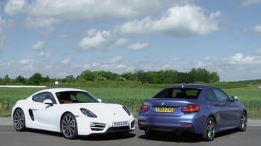 Porsche Cayman v BMW M235i track battle