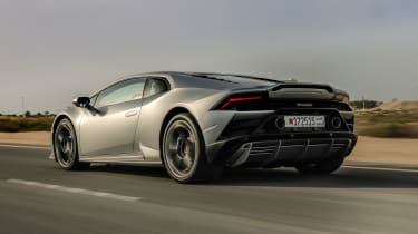 Lamborghini Huracan EVO silver - rear quarter