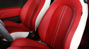 Abarth 595 50th Anniversary red and white leather seats