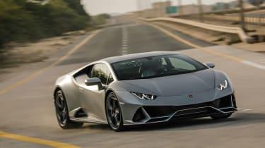 Lamborghini Huracan EVO silver - cornering