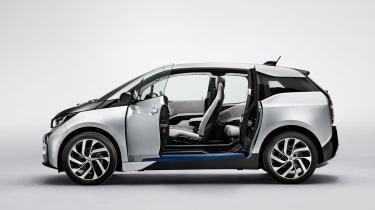 BMW i3 silver doors open