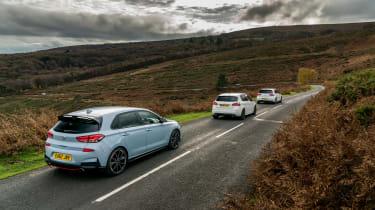 Hyundai i30N group test (Golf GTI and Peugeot 308 GTI) - rears