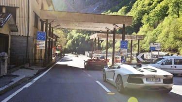 Lamborghini Aventador and Countach at the Italian Boder