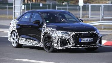 Audi RS3 mule 2021 saloon - front quarter