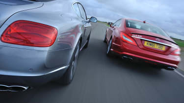 evo January 2013 Bentley Continental GT vs Mercedes CLS63 AMG