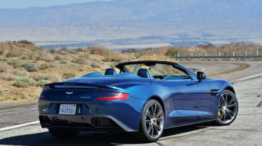 Aston Martin Vanquish Volante blue rear