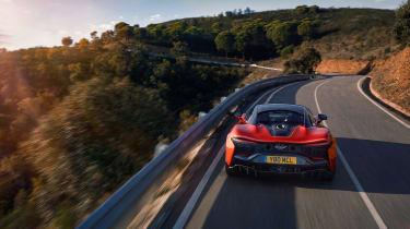 McLaren Artura revealed - orange rear high tracking