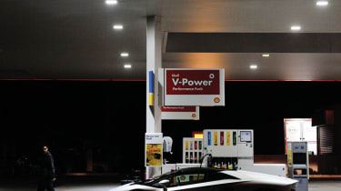Lamborghini Aventador filling up with V Power at a Shell petrol station