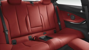 BMW 435i red leather rear seats