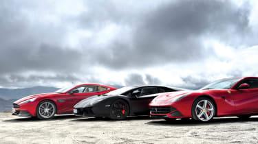 Ferrari F12 v Lamborghini Aventador v Aston Martin Vanquish video